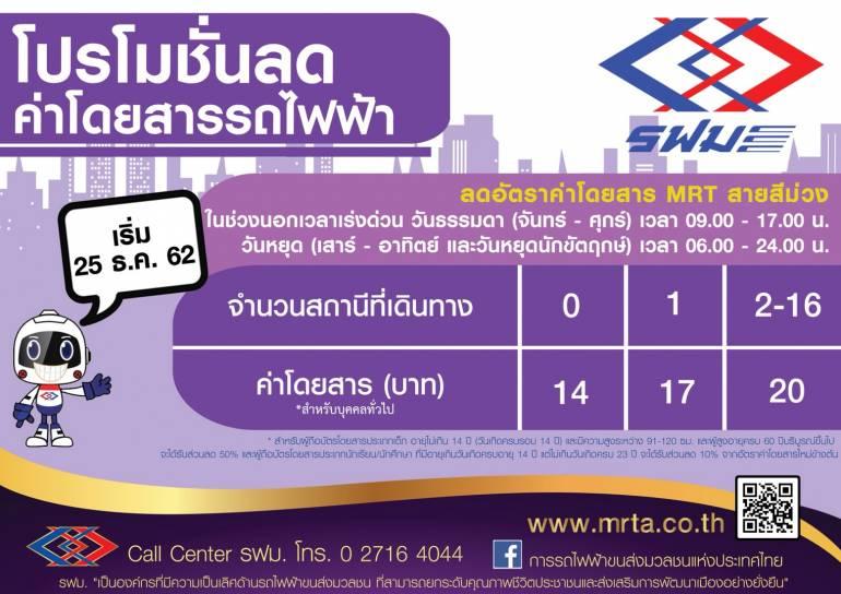 MRTパープルラインの割引運賃表