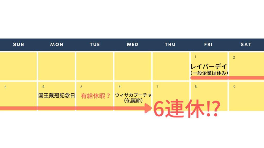 タイの2020年5月のカレンダー