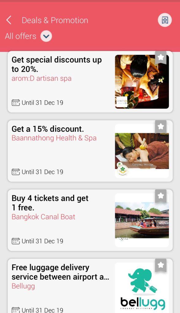タイ旅行のおすすめアプリTAGTHAi(タグタイ)の特別プロモーション・クーポンのページ