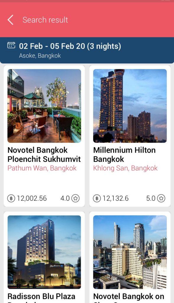 タイ旅行のおすすめアプリTAGTHAi(タグタイ)のホテル予約選択ページ