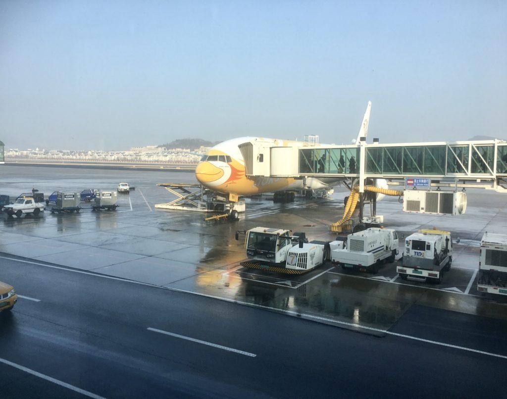 大連空港の中から見るノックスクートの機体