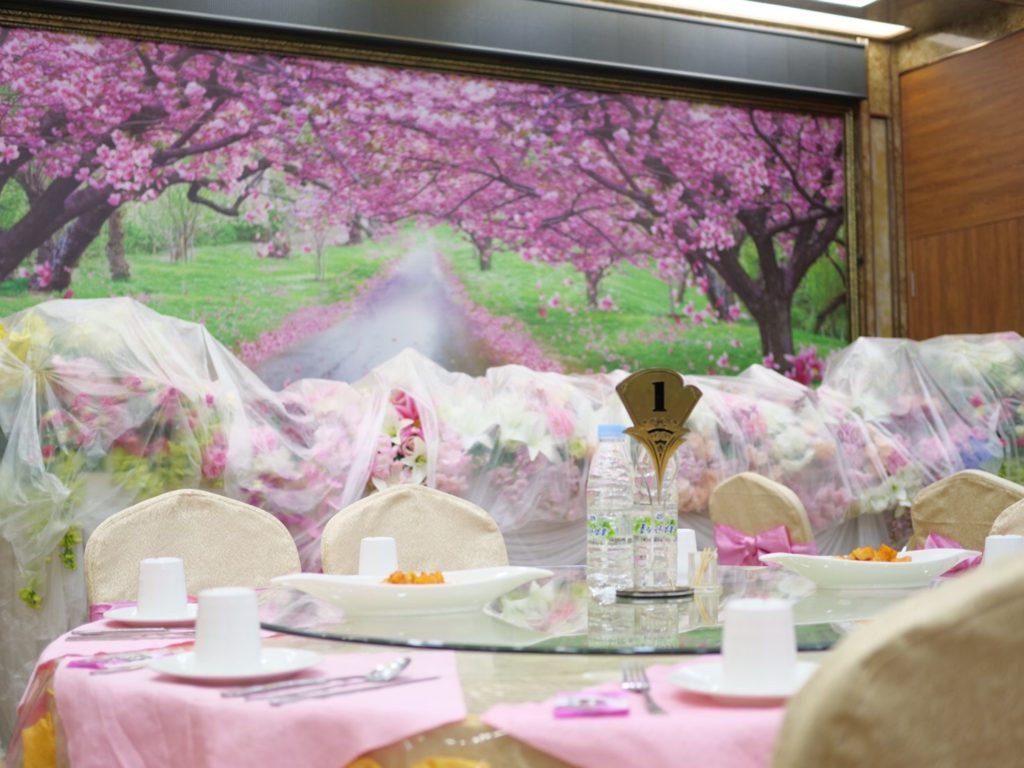 北朝鮮・平壌市内にある外国人用レストランのテーブル