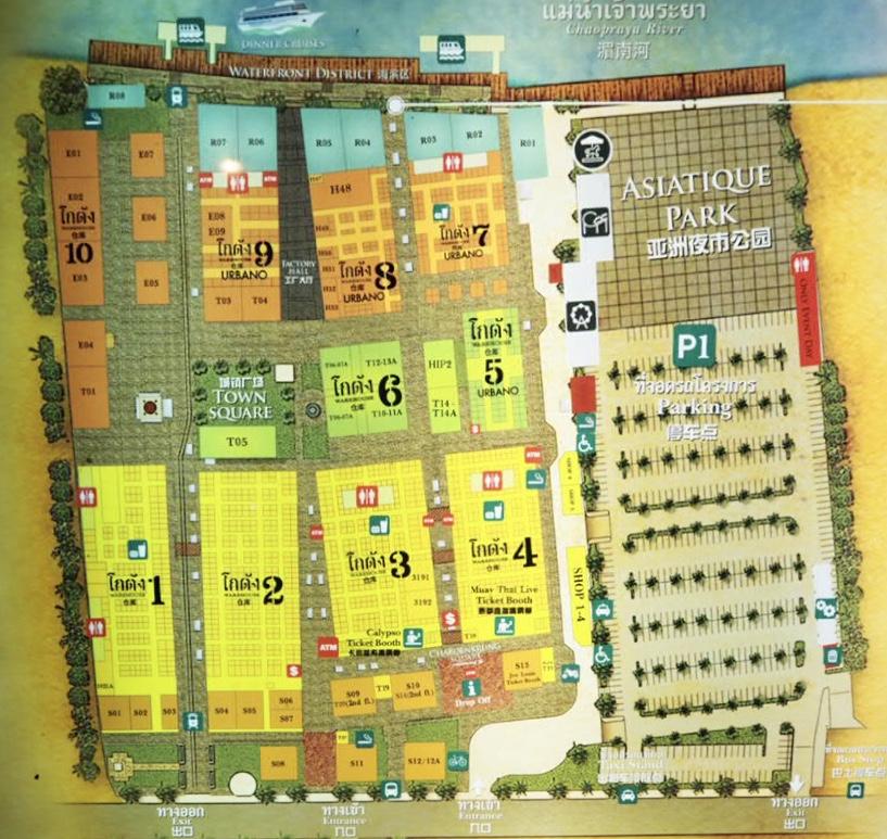タイ・バンコク最大級のナイトマーケット「アジアティーク・ザ・リバーフロント」のエリアマップ