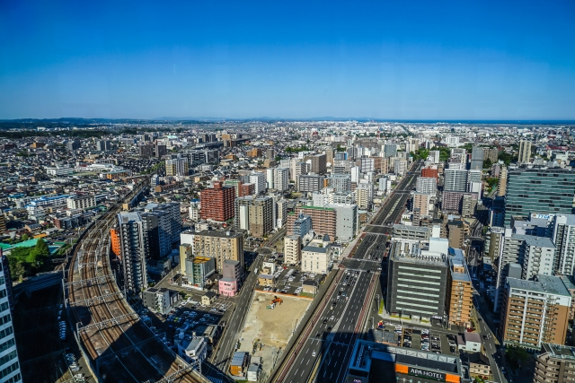 晴れた仙台市の空撮