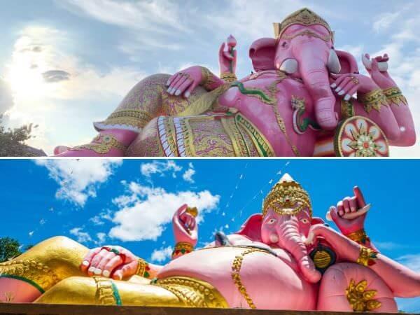 ワット・パー・ユップとワットサマーンラッタナーラームのピンクのガネーシャを比較