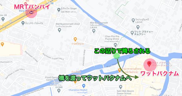 ワットパクナム周辺の地図